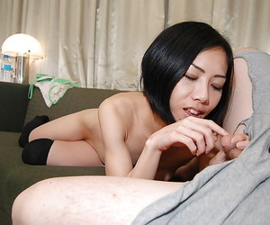 Asian MILF Makoto Abe gives a footjob and gets fucked for a pussy creampie