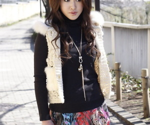 Wonderful Japanese college babe Yu Yamashita wears short skirt and black boots
