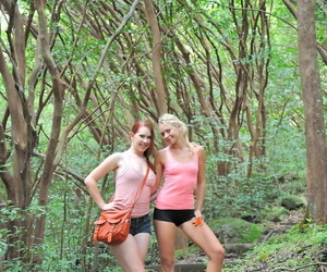 Amateur nude babes Lena & Melody kissing each other in jungle adventure