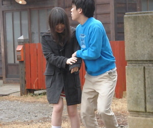 Japanese girl Mai Shimizu holds her hands out for jizz after sucking cock