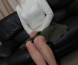 Asian MILF Chiho Sakurai undressing and exposing her shaggy cunt
