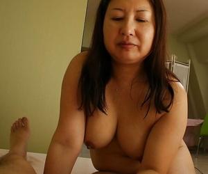 Asian slut Miyoko Nagase gets her shaggy twat banged and creampied