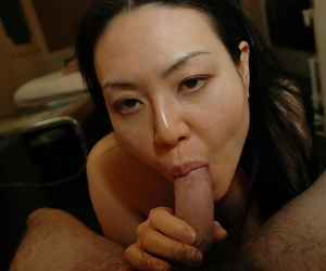 Asian MILF Sonoko Yoneda gets her hairy pussy nailed and creampied