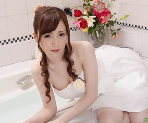 Adorable Asian chick Mika Sumire spreads legs for a dick and a creampie