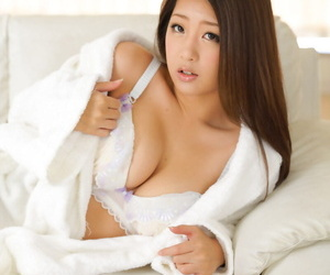 Shy Japanese hottie Satomi Suzuki gets spooned and creampied on the bed