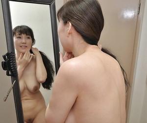 Frisky asian MILF with shapely tits Kuniko Hara taking bath