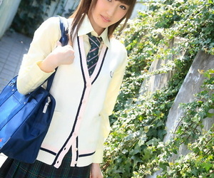 Asian brunette with tiny titties Karin Aizawa gets a creampie after school sex