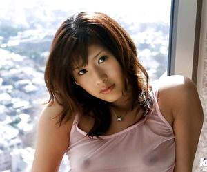 Pretty asian babe Sara Tsukigami taking bath in her sheer lingerie