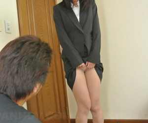 Horny Asian office lady Kotomi Asakura lets her boss finger her hairy pussy