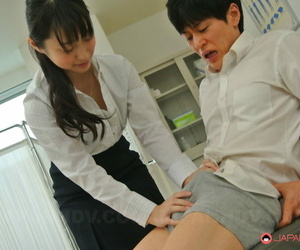 Kinky Asian girl Tomomi Motozawa removes her undies & rides a dick after a BJ