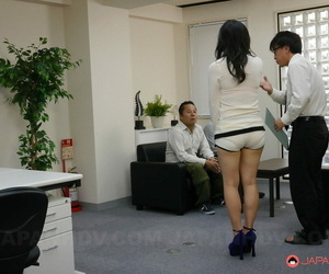 Dark haired babe Yuzuki gets her holes filled by two horny men on the floor