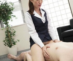 Asian secretary Maiko Sargimi fucks a client & gets her hairy pussy creampied