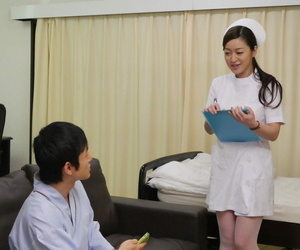 Japanese nurse Maria Ono licks a mans ass while milking his cock before sex