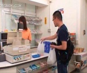 Sweet asian shop attendant gets..