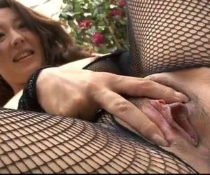 Ruhime Maiori fishnet porn show..