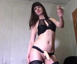 Smoking slut with strapon