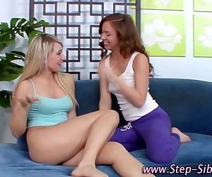 Step sis fingered by lesbo