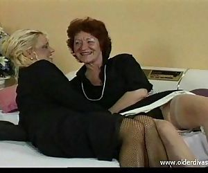 Old lesbians in business suits stockings and heels get it..