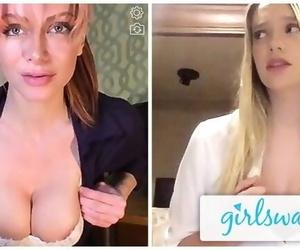 GIRLSWAY Kenna James and her Boss Masturbate Remotely..
