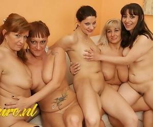 MatureNL 4 Mature Ladies & 1 having a Kinky Lesbian Party