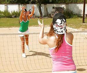 Sporty teen babes having lesbian..
