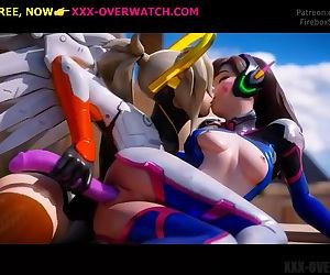 Sitted on huge cock, overwatch parody