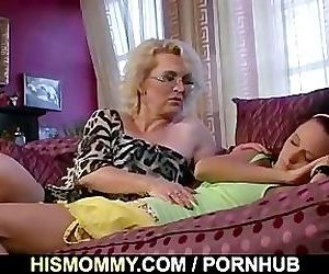 Sleeping GF is pussy licked by his mom