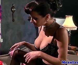 Busty lezdom ass toyed with strapon by sub