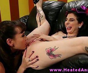 Tattooed punk lesbian has her pussy eaten