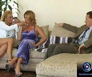 Lesbian milfs makes out first before getting drilled with a fat cock