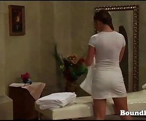 Mistress whipping lesbian slave and playing with her