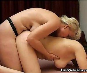 Horny lesbian MILFs fuck on cam