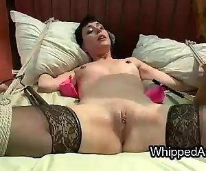 Lesbian threesome whipping and fucking