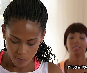 Ebony lesbians fucking after fitness trainingHD