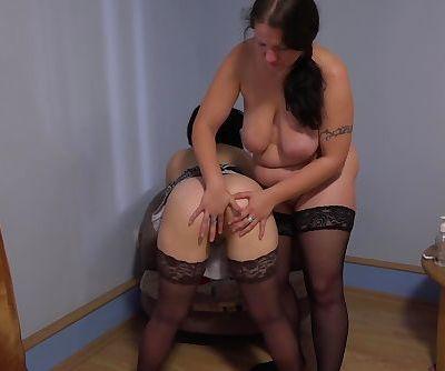 Step mother fucks ass daughter fiercely