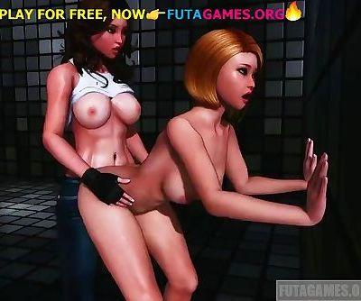Dickgirl fucks girl in standing, shemale porn game!