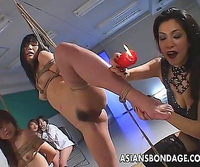 Smutty Japanese babes indulge in group BDSM action 8 min