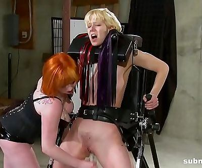 Lesbian babe enjoys BDSM, spanking and pain from mistress 3 min HD