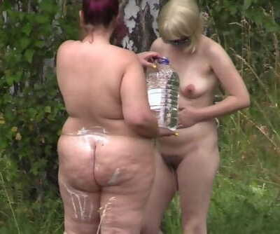Naked Women in the Forest. Peeping, Hidden Camera