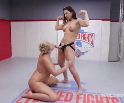 Ryan Keely Battles Ariel X in Lesbian Wrestling Winner Strapon Fucks Loser