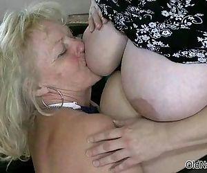 Blonde granny loves having lesbian sex - 5 min