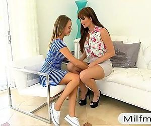 Alexis Adams and Bianca Breeze threesome on the couch