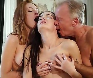 Hot old and young threesome sex during a job interview 10 min HD+
