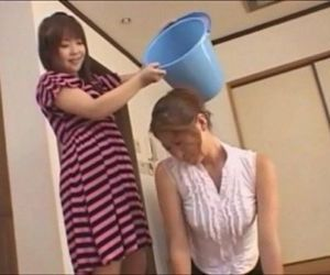 Asian teen slaps around her mother - foot domination - 7 min