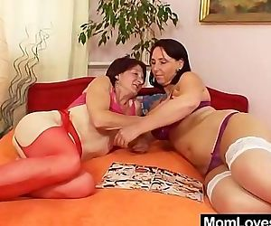 Unshaved grandmother toyed by well-endowed mama lesbian