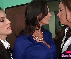 Hot and Mean Lesbian PornAva and the Slutty Schoolgirls with Abigail Mac & Ava Addams & R