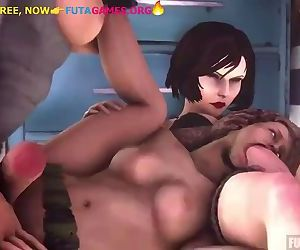 FUTA LARA CROFT,WITH FRIENDS IN LESBIAN ORGY, 3D FUTA