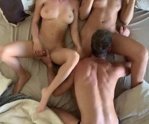 Threesome coffee in bed with blonde and brunette and hot stud