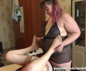 BBW Fucks Skinny MILF Girlfriend with very Hairy Cunt