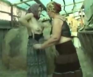 Lesbian Granny Sex in a Barn